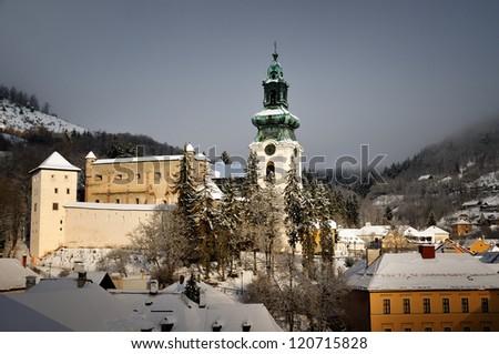 Old castle in winter Banska Stiavnica, Slovakia Unesco - stock photo