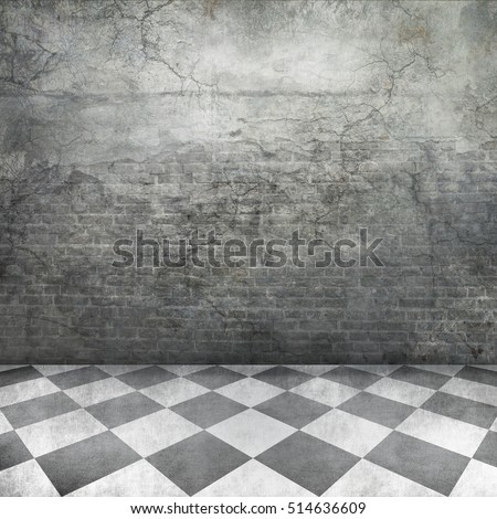 old castle interior background grunge brick textured rustic wall and checked floor square photo