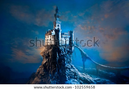 Old castle on the hill - stock photo