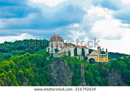 old castle on top of rock - stock photo