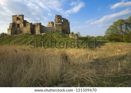 Old castle ruins in Siewierz, Poland - stock photo