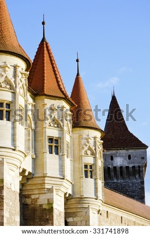 Old Castle Towers Over Blue Sly - stock photo