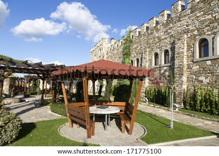 Old castle with patio - stock photo