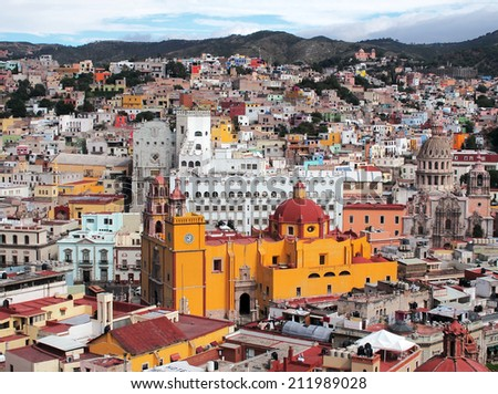 Old cathedral and 16th century colonial buildings in the valley of Guanajuato in central Mexico, World Heritage Site by UNESCO. - stock photo