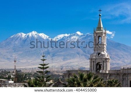 old cathedral in the background volcano - stock photo