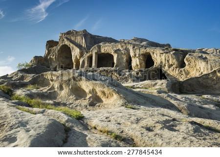 Old cave city Uplistsikhe in Caucasus region, Georgia. - stock photo