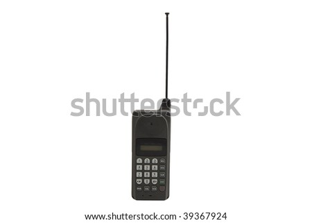 Old cell phone. Isolated on white - stock photo