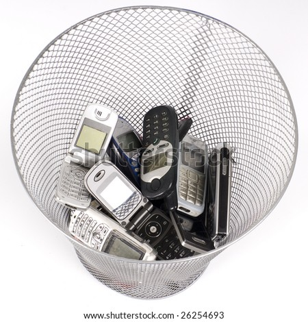 old cellphones in the wastepaper basket