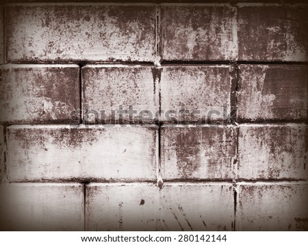 Old cement blocks wall imitation brick wall painted brown color vintage for background. Crack paint looks scare, sad, dirty, formidable. - stock photo