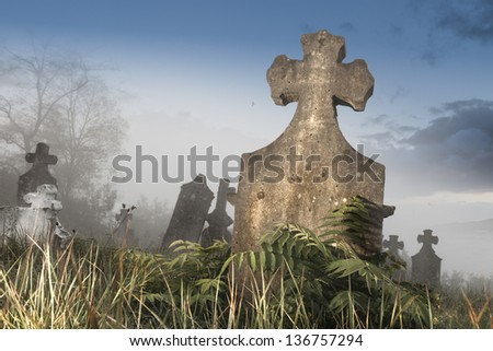 Old cemetery early in the morning on a foggy day - stock photo