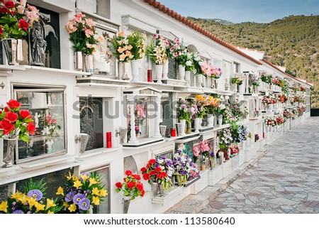 old cemetery in a village, Malaga, Spain - stock photo