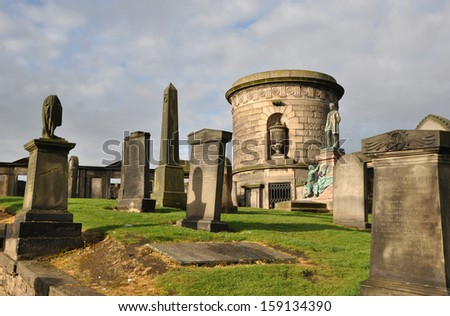 Old cemetery in  Edinburgh, Scotland. - stock photo