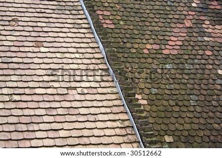 Old Ceramic Roof Tiles In Historic Szentendre (Saint Andrew), North Of  Budapest,