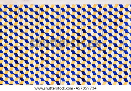 old ceramic tile wall patterns covering portugal houses. Azulejos - stock photo