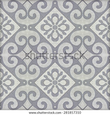 Old ceramic tiles patterns handicraft from thailand In the park public. - stock photo