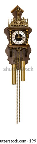 old, chain, wall clock isolated on white background. - stock photo