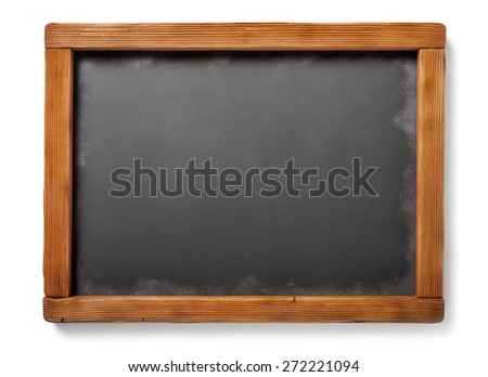 old chalkboard with aged wooden frame, isolated