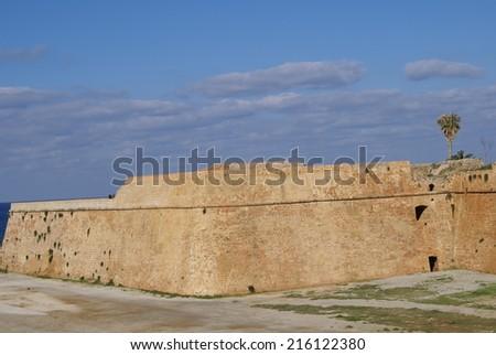 Old Chania walls, Crete, Greece - stock photo