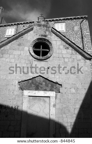 Old chapel in Dubrovnik, Croatia. Black and white. - stock photo