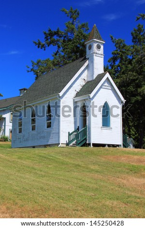 Old chapel on San Juan Island, Washington, USA. - stock photo