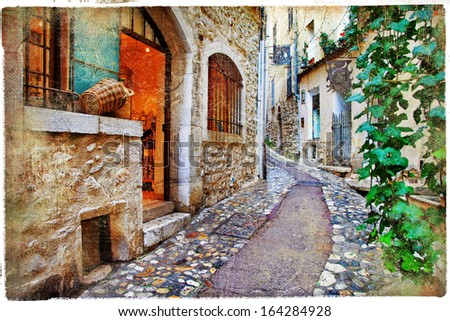 old charming streets of Provance villages, France - stock photo