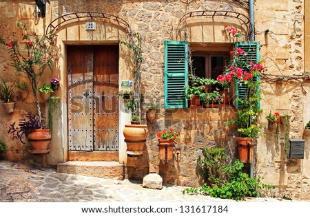 old charming streets, Spain - stock photo