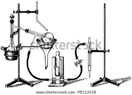 "Old Chemical Laboratory Equipment illustration engraving, from book ""Vereinigte Fabriken fur Laboratoriumsbedarf"", 1905, Berlin - stock photo"
