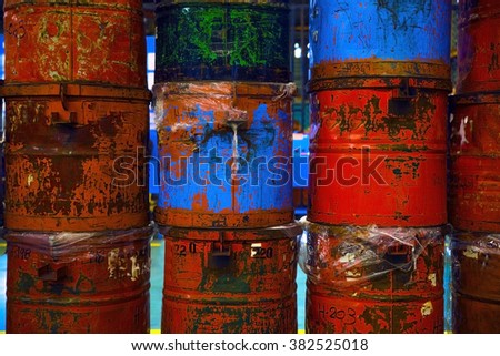 old Chemical tank fuel tanks that lay altogether - stock photo