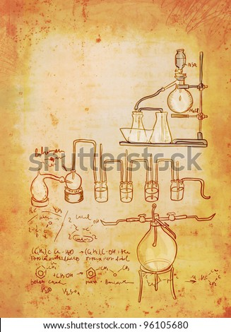 Old chemistry laboratory background in vintage style - stock photo