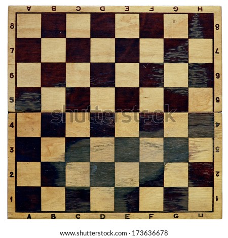 old chess board isolated on a white background  - stock photo