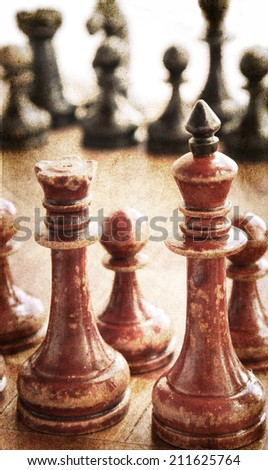 old chess grunge style - stock photo