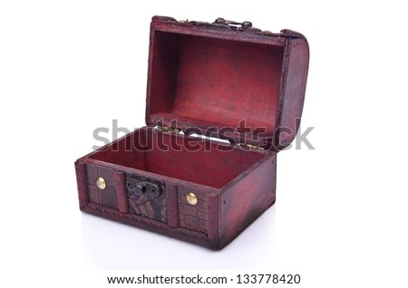 Old chest isolated on the white background - stock photo