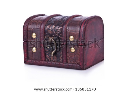 Old chest isolated on the white background