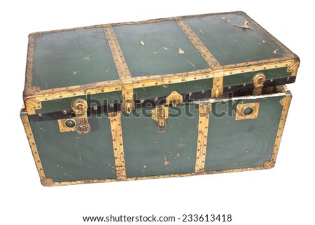Old chest isolated on white - stock photo