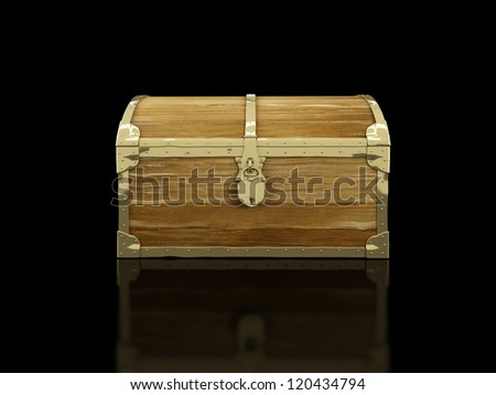 old chest on a black background - stock photo