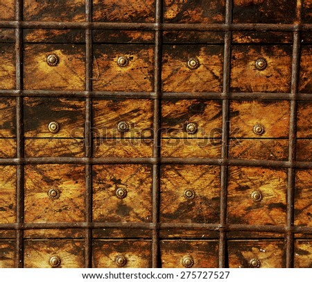 Old chest surface, vintage background.