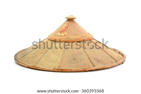old chinese conical straw hat isolated on white