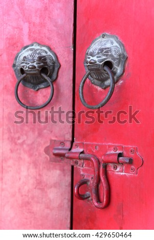 Old chinese door. - stock photo
