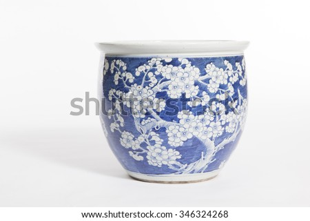 old chinese flowers pattern style painting on the ceramic bowl - stock photo