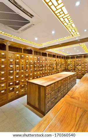 old chinese medicine shop - stock photo