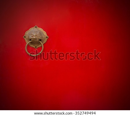 Old chinese red door - stock photo