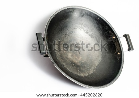 old chinese wok pan isolated white