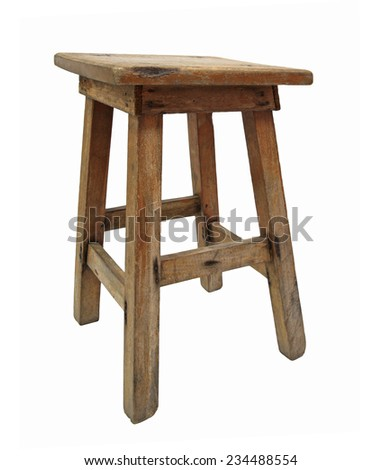 Old Chinese wooden chair isolated on white - stock photo