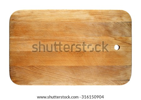 Old chopping board isolated on white background - stock photo