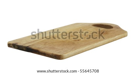 old chopping board,isolated on white with clipping path - stock photo