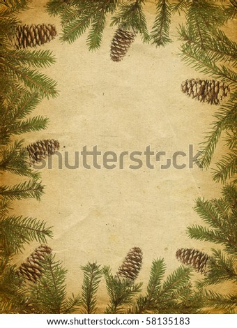 Old Christmas card for your text - stock photo