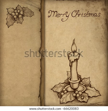 Old christmas greeting card with drawing of holly berry and candle