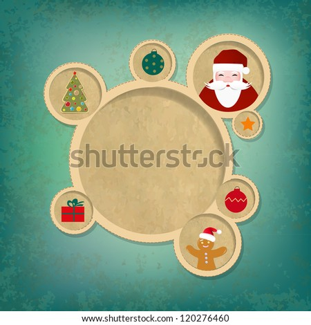 Old Christmas Web Design Bubbles And Santa Claus - stock photo