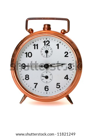 old chrome alarm clock isolated on white
