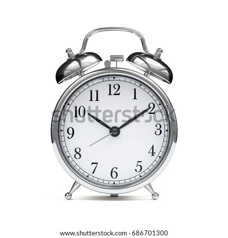 Old chrome fashioned alarm clock isolated on white background. 3d rendering illustration